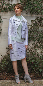 Silver Birch Biker Jacket, Moss Top and Silver Birch Stride Skirt from the Mycelium Collection