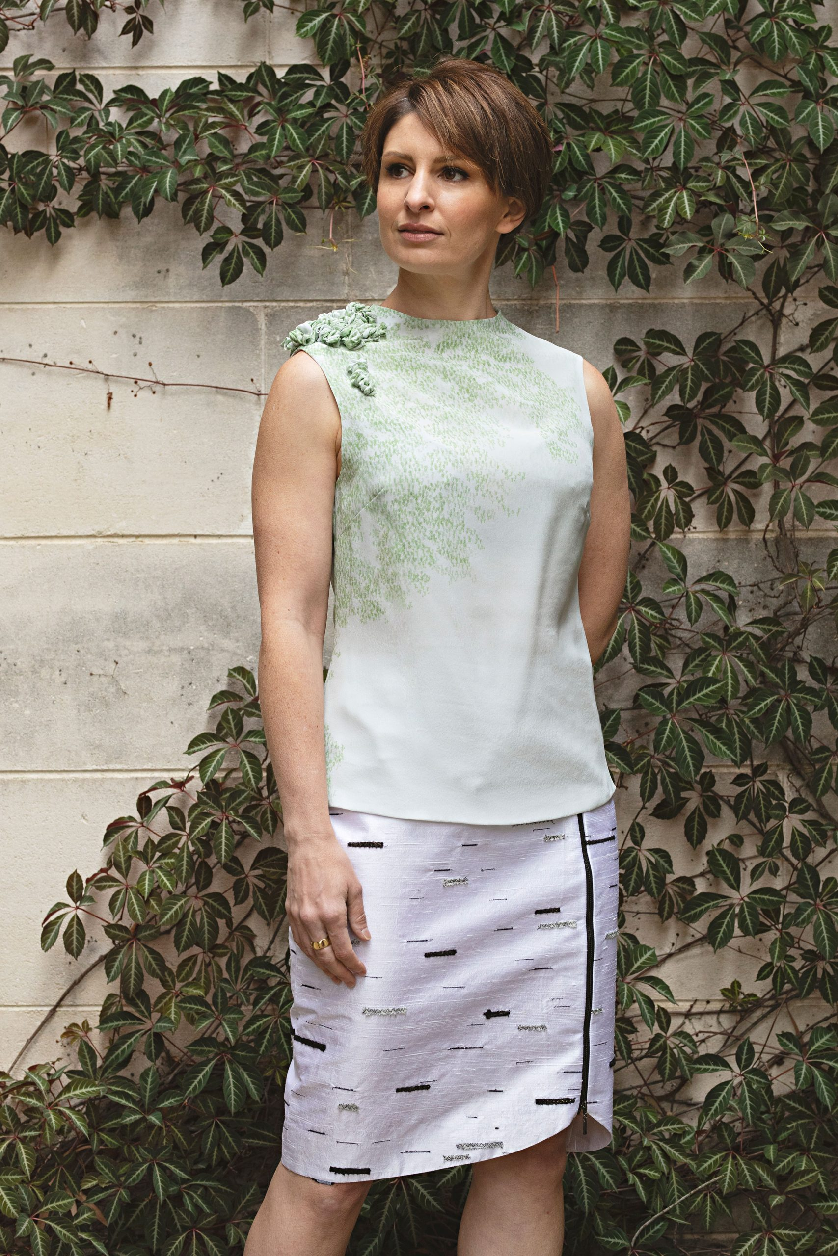 Moss Top and Silver Birch Stride Skirt