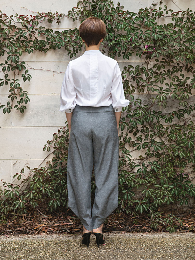 Puff Sleeve Shirt and Charcoal Birch Pant back view