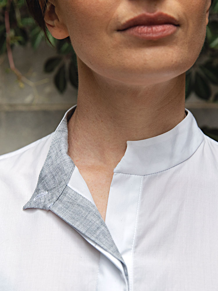 Puff Sleeve Shirt contrast-inside collar and button placket
