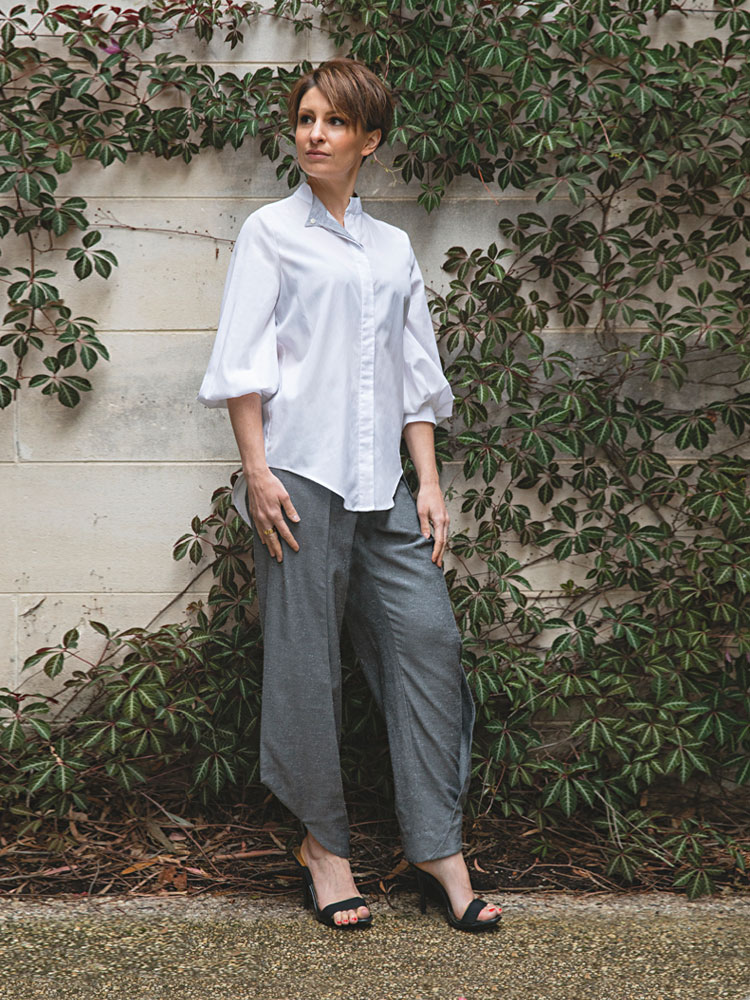 Puff Sleeve Shirt and Charcoal Birch Pant front view