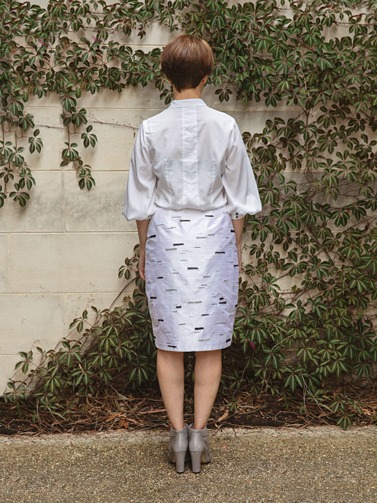 Puff Sleeve Shirt and Silver Birch Stride Skirt back view