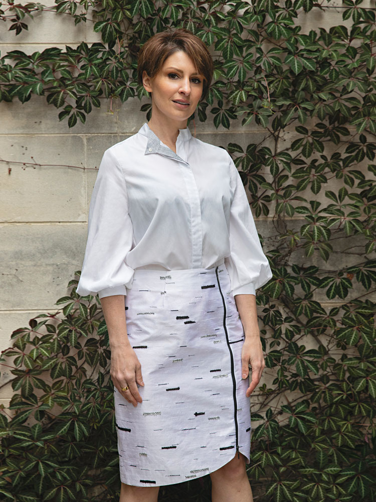 Puff Sleeve Shirt And Silver Birch Stride Skirt