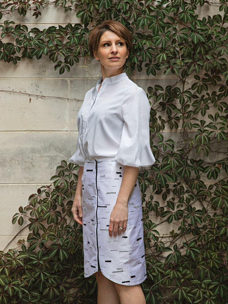 Puff Sleeve Shirt With Silver Birch Stride Skirt