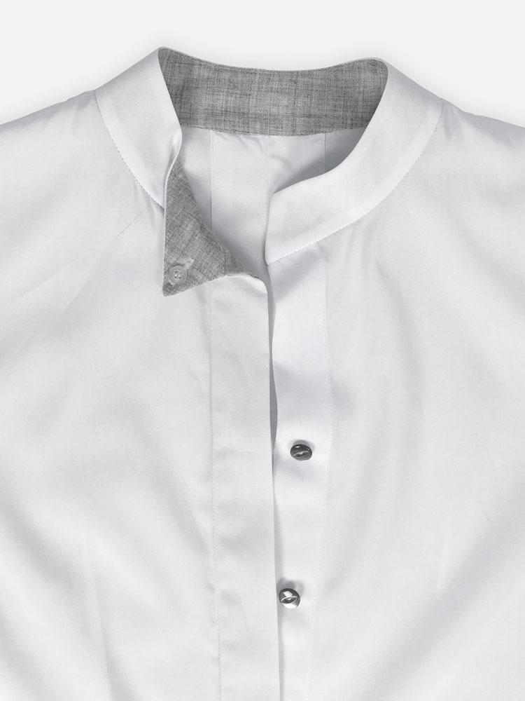 Puff Sleeve Shirt contrast neck and hidden placket