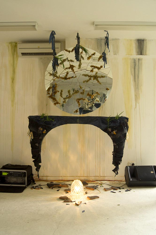 Pavement Mirrors With Denim Mantles By Tarmi Clarke